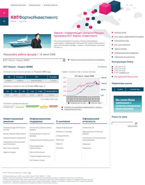 """Главная страница сайта Управляющей компании """"КИТ Фортис Инвестментс"""". Разработка 1ADW."""